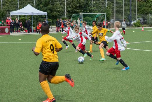 TuS E2-Jugend im Spiel gegen die E1 der SpVgg. Steele 03/09 (0:2). - (Foto: r.f.).