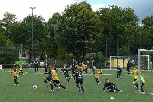 TuS F1-Jugend im Spiel gegen Adler Union Frintrop. - Fotos: mal.