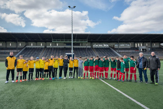 TuS D1- Jugend: Ausgeglichenes Spiel in freundschaftlicher Atmosphäre bei DJK Teutonia Schalke-Nord. - Foto: r.f.