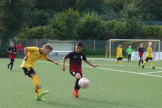 TuS E1-Jugend im Heimspiel gegen SpVgg. Steele 03/09. - Fotos: mal.