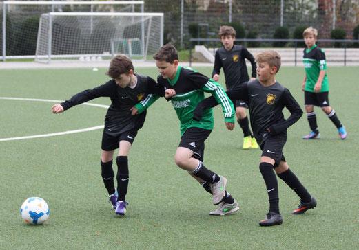TuS D2-Jugend im Testspiel gegen den DJK Rüttenscheider SC. - Fotos: p.d.