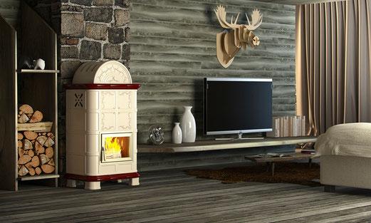 stufa legna maiolica palladio brezza