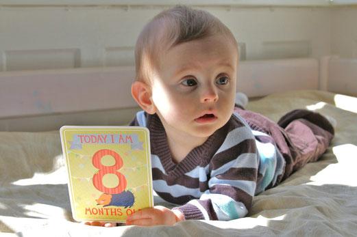 8 mois : petit gourmet goûte à (presque) tout, joue du tambour et tente de ramper