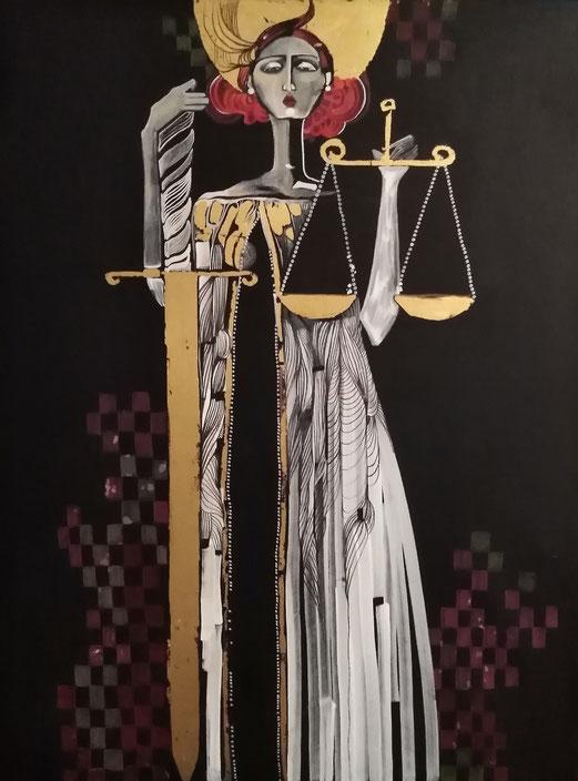 Die Gerechtigkeit II. 11.9.2019 Kombinierte Technik & 24 Karat Blattgold