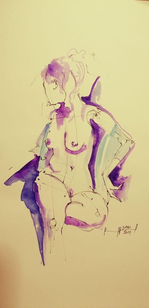 Sketch I. A4 Aquarell /Fineliner 16.1.2021