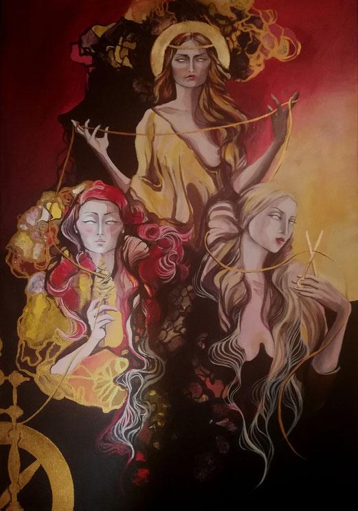 DIE DREI MOIREN: In der griechischen Mythologie sind sie die Göttingen des Schicksals. CLOTHO ist die Spinnerin, die den LEBENSFADEN spinnt, LACHESIS die Zuteilerin, die die Länge bemisst und ATROPOS, die den Lebensfaden abschneidet.  100 x 70 cm Acryl auf Leinwand 24 Karat Blattgold Goldpigment
