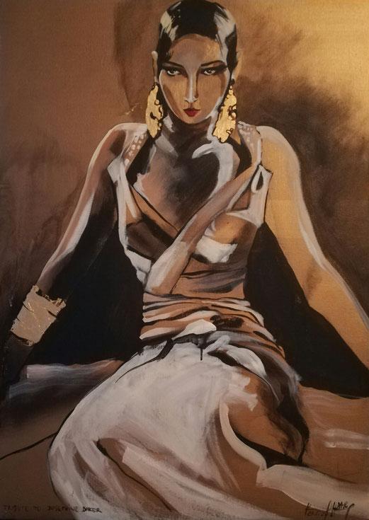 A Tribute to Josephine Baker 50x70 Acryl + 24 Karat Blattgold