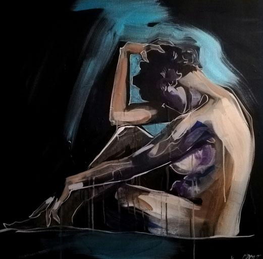 Nimm den Schmerz als Lehre an, nicht als Meister. 80x80 cm Acryl 27.7.2018
