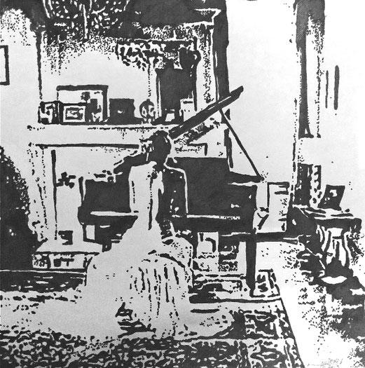 Piano A4 Tusche- Zeichnung 18.5.2019
