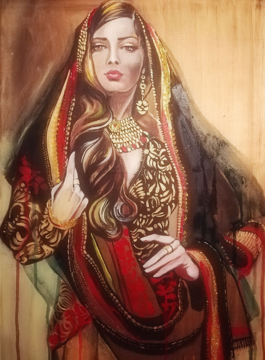 Persian Beauty 70x50 cm kombinierte Technik 12.9.2018