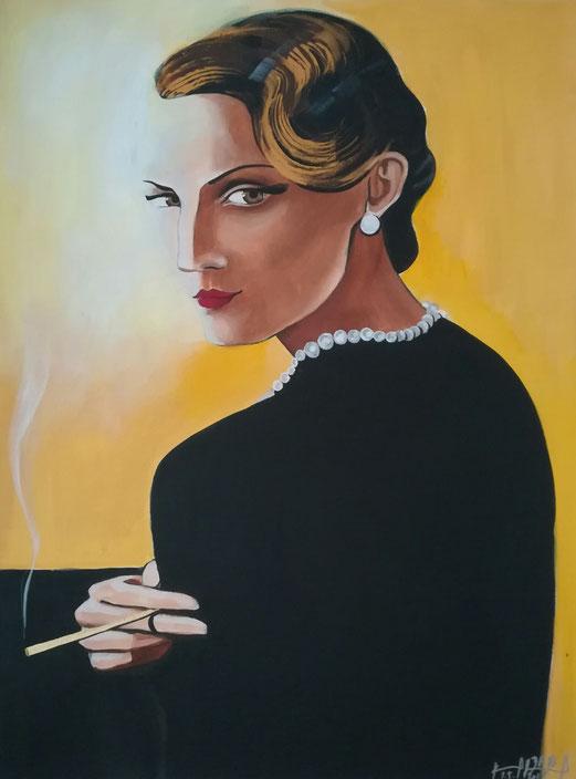 Die goldene Zigarette 60x80 cm, Acryl+ 24 Karat Blattgold