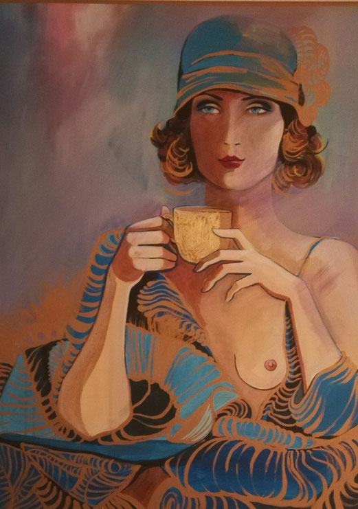Kaffee 1920, 60x80 cm, kombi Technik