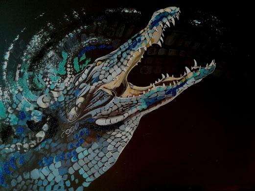 Das Krokodil 60x80cm kombinierte Technik 15.8.2018