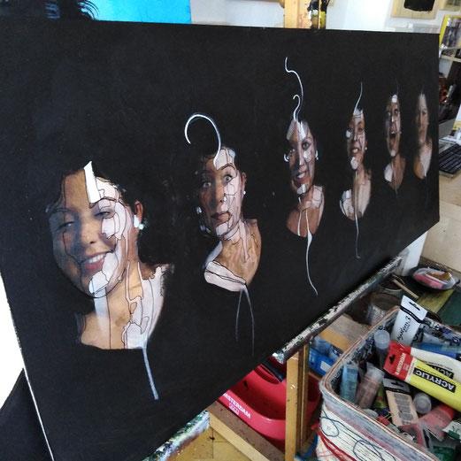 """Melanie 2."" 180 x 50 cm / Kombinierte Technik 29.6.2019"