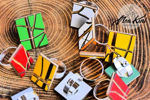 farbenfrohe, versilberte Ringe aus Birkenfurnier, kratzfest und beständig, verbreiten gute Laune