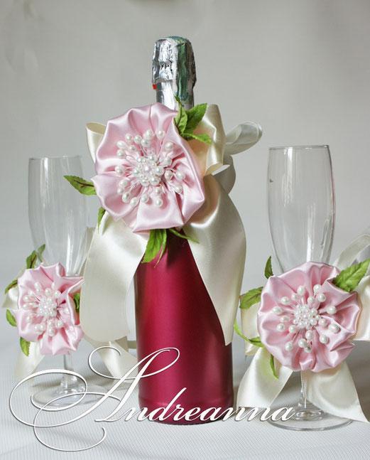 """Украшение-бант для шампанского """"Цветок сакуры"""", стоимость украшения 500грн"""