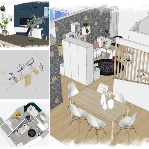 exemple de projet réalisés par l'agence en architecture d'intérieure et décoration