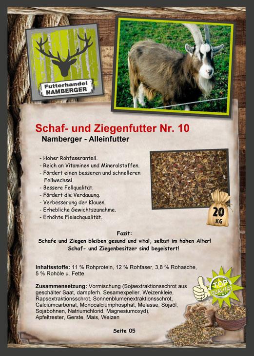 Futter: Schaf- und Ziegenfutter Nr. 10 (Alleinfutter)