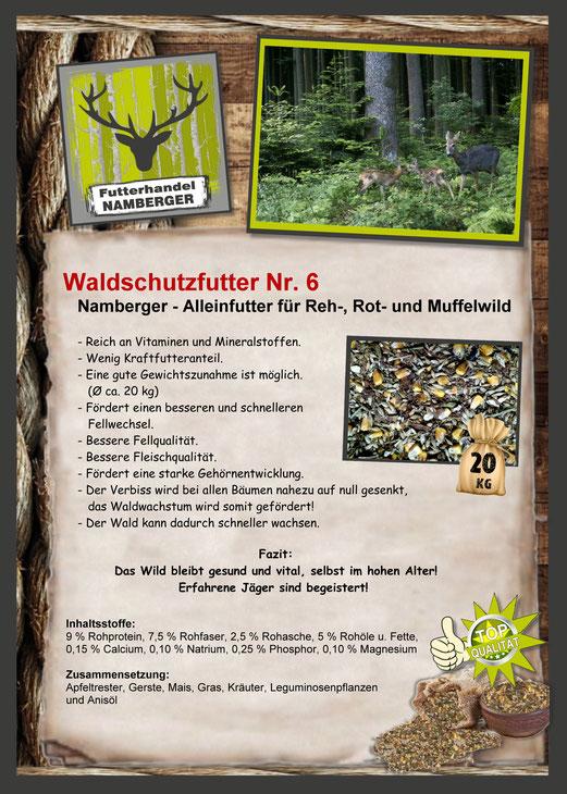 Futter: Waldschutzfutter Nr. 6 (Alleinfutter für Reh, Rot- und Muffelwild)