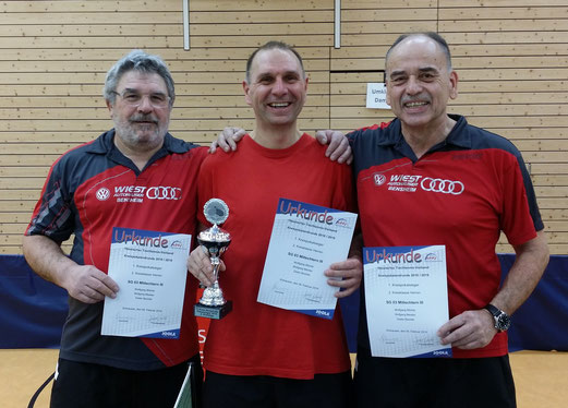 Glückliche Gewinner des Kreispokals 2019 der 2. Kreisklasse(Kreis Bergstrasse) v.l.n.r.: Dieter Bechtel, Wolfgang Blümle, Wolfgang Meister