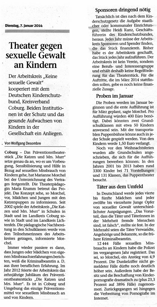 Quelle: NEUE PRESSE COBURG vom 07.01.2014