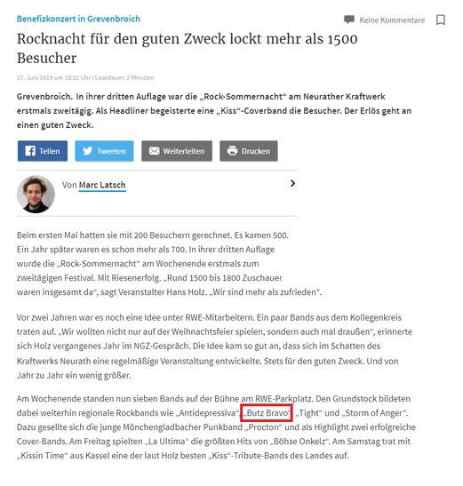 Artikel RP-Online.de vom 17.06.2019 (Rock Sommer Nacht)
