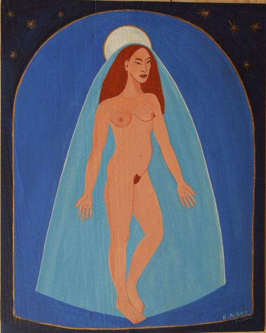 La sainte. Peinture sur bois.