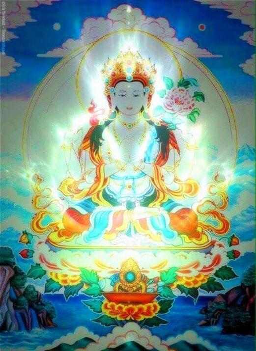 Om mani padme Hum Avalokiteshvara (ou Avalokitesvara) est un bodhisattva qui représente la compassion, et son mantra symbolise cette qualité.