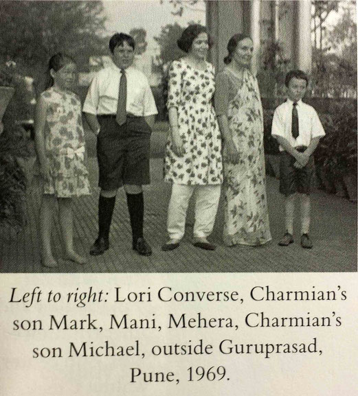 "Charmian's 3 children visiting Poona, India.  Courtesy of Charmian's book ""Spread my Love"""