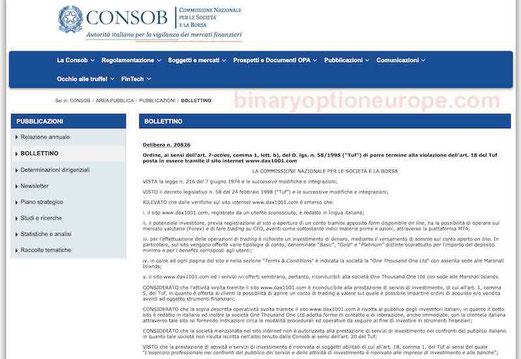 dax1001 consob diffida denuncia