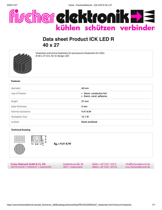 ICK LED R 40 x 27 Fischer  フィッシャー LED用ヒートシンク