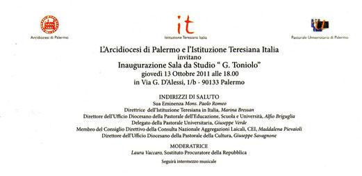 """Inaugurazione sala da Studio """"G.Toniolo"""""""