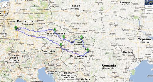 Gesamtroute Tschechei. Slowakei. Ungarn