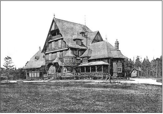 Fig. 41 - Villa ou Château Menier - Baie Ellis ou Gamache, Isle d'Anticosti: vue du sud-est