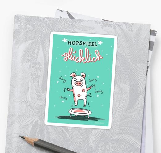 Trampolinschweinchen – Hopsfidel glücklich – Sticker bei Redbubble – Illustration Judith Ganter - Illustriertes Kopfkino für Alltagsoptimisten - Hamburg Germany