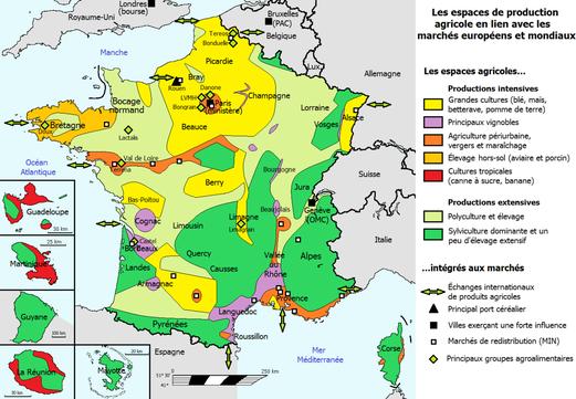 Principales régions agricoles en France. SOurce: wikipédia.