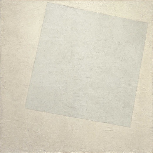 Kasimir Malevitch, Carré blanc sur fond blanc (1918) ou Composition suprématiste : carré blanc sur fond blanc, Huile sur toile, 79.4 × 79.4 cm, Museum of Modern Art, New York