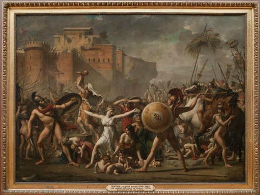 Jacques-Louis DAVID, Les Sabines, Huile sur toile, 385 × 522 cm, 1799, Musée du Louvre.