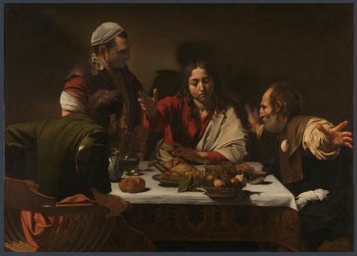 Michelangelo Merisi da Caravaggio dit Le Caravage, 1601-1602, Le souper à Emmaüs, Huile sur toile, 139 × 195 cm, National Gallery, Londres.