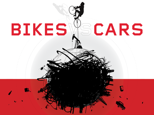 BIKES vs CARS Title image 1. Design: Rebeca Mendes