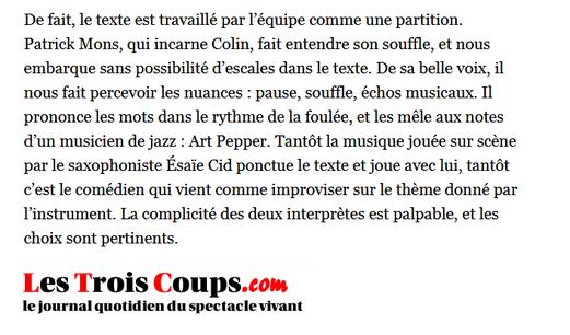 Laura Plas-Les Trois Coups 21 décembre 2012