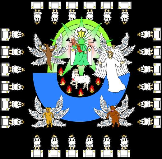 Le fils symbolisant le Royaume de Dieu est enlevé vers Dieu et vers son trône. Dès le début des visions de l'Apocalypse nous voyons l'Agneau Jésus-Christ près de son Père, ainsi que les 24 anciens ou 144'000 assis sur des trônes autour du trône de Dieu.