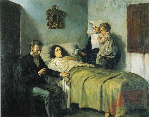 Science et charité, huile sur toile, 197x249 cm, 1897, Musée Picasso de Barcelone.