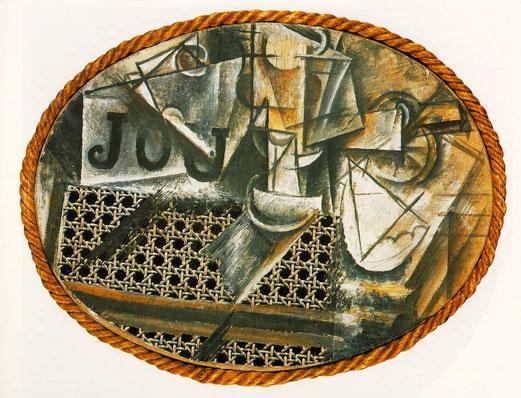 Nature morte à la chaise cannée, peinture à l'huile, toile cirée, et corde sur toile cirée, 29 × 37 cm, 1912.