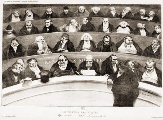 Honoré Daumier Le Ventre législatif. Aspects des bancs ministériels de la chambre improstituée de 1834. Lithographie, 1834. BnF
