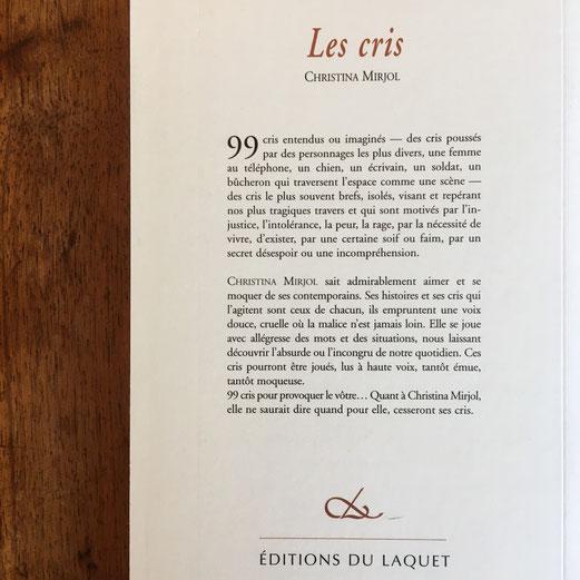 Quatrième de couverture Les cris de Christina Mirjol