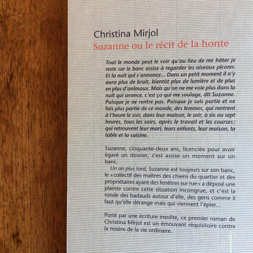 Quatrième de couverture Suzanne ou le récit de la honte de Christina Mirjol
