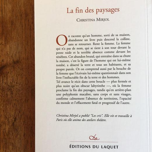 Quatrième de couverture La fin des paysages de Christina Mirjol