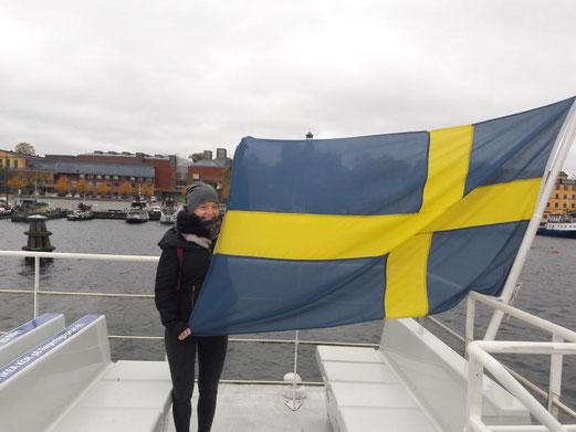 Pia Wittek bei einer Schiffstour in Stockholm