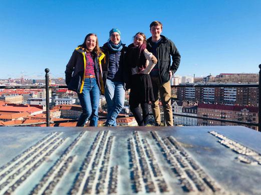 Hannah, Sonja, Clara und Konrad in Schwedens zweitgrößter Stadt